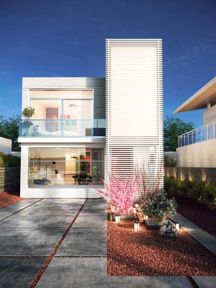 Fachada moderna de casa de dos niveles.