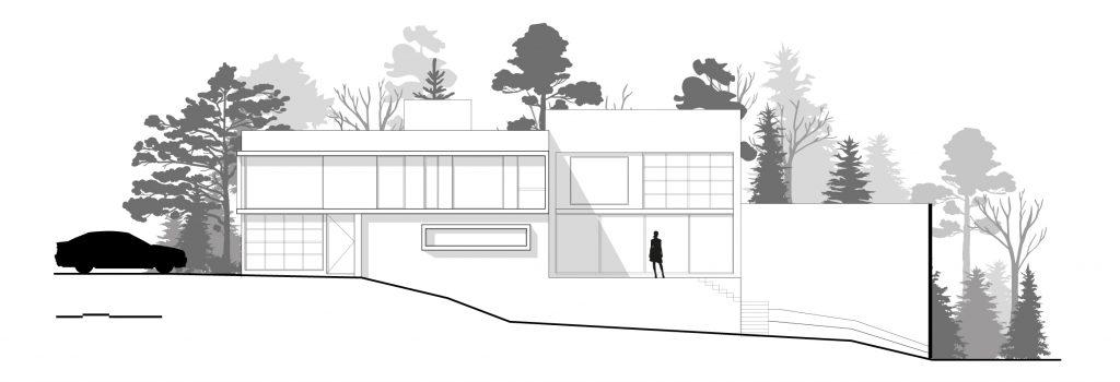 Corte arquitectónico de casa.