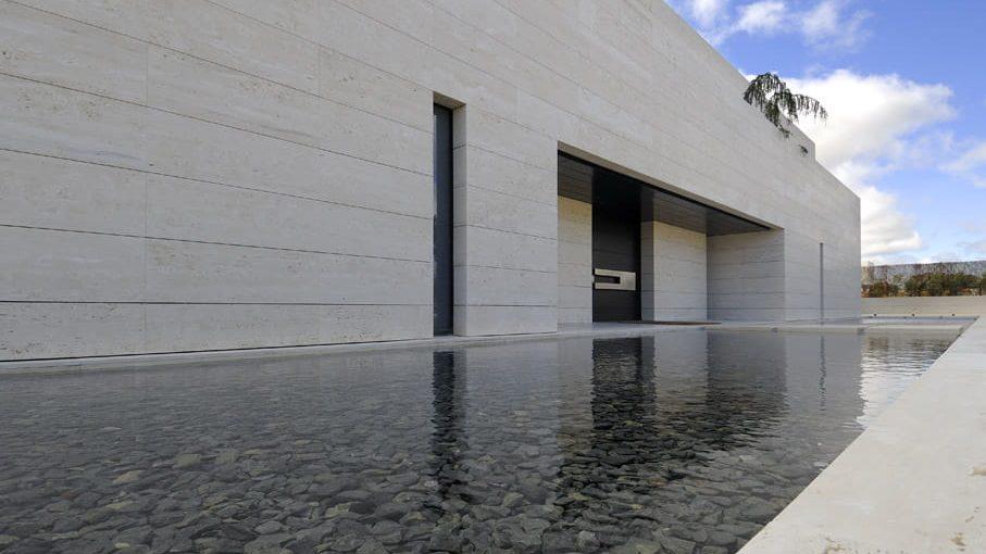 Perspectiva de casa minimalista moderna.